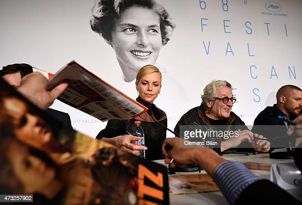 "Actress Charlize Theron, director George Miller and actor Tom Hardy attend the ""Mad Max: Fury Road"" press Conference during the 68th annual Cannes..."