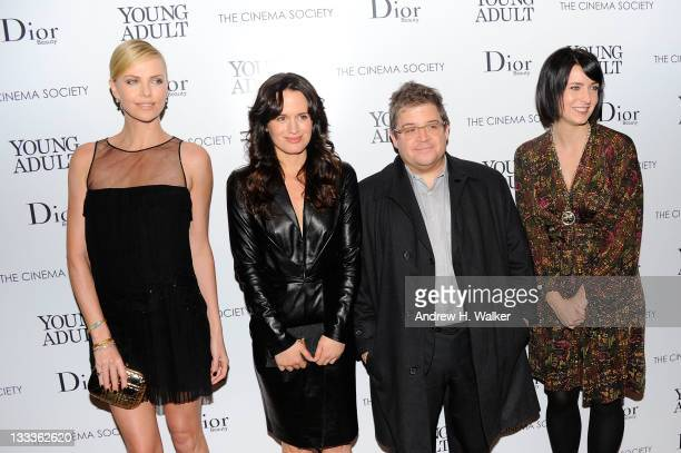 Actress Charlize Theron Elizabeth Reaser Patton Oswalt and Diablo Cody attend the Cinema Society Dior Beauty screening of Young Adult at the Tribeca...