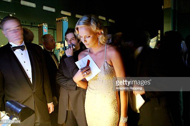 Actress Charlize Theron is photographed backstage at the 76th Annual Academy Awards for Los Angeles Times on February 29 2004 at the Kodak Theater in...