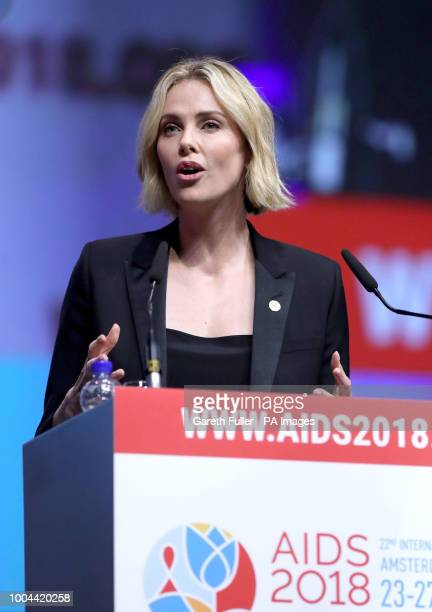 Actress Charlize Theron makes a speech during the Aids 2018 summit in Amsterdam the Netherlands