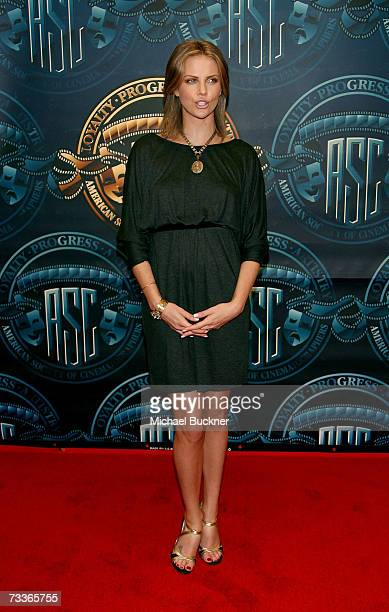 Actress Charlize Theron poses in the press room at the 21st Annual American Society of Cinematographers Achievement Awards at the Hyatt Regency...