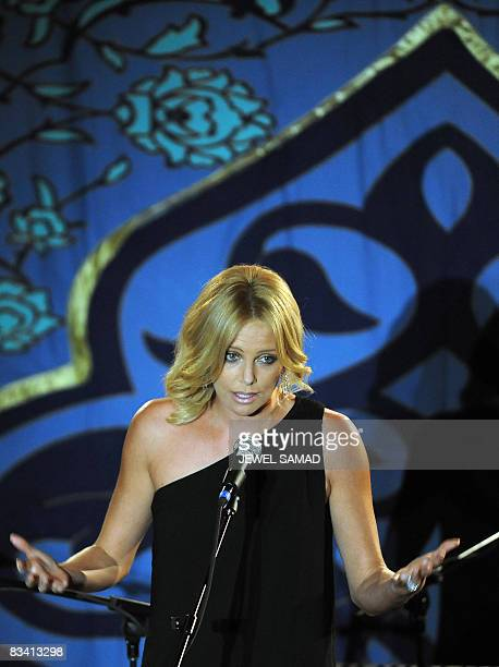 Actress Charlize Theron speaks during Sir Richard Branson's charity organization Virgin Unite hosted Rock the Kasabh fundraising gala 2008 at the...