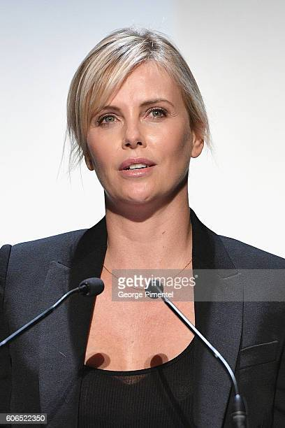 Actress Charlize Theron speaks on stage at the 'Brain On Fire' Premiere during the 2016 Toronto International Film Festival at Princess of Wales...