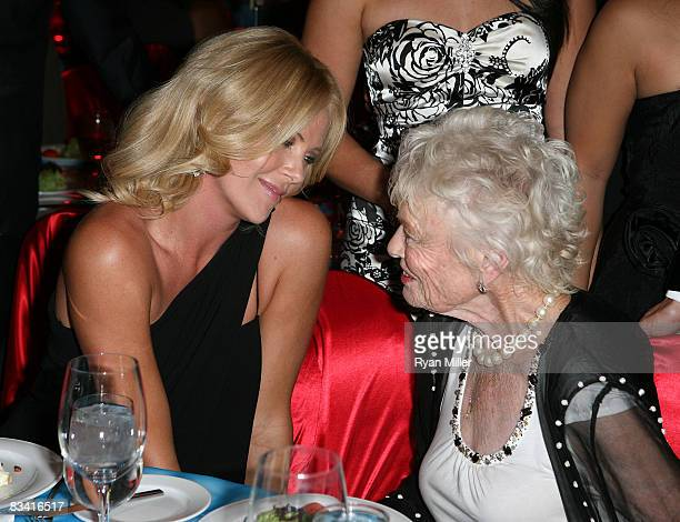 Actress Charlize Theron speaks with Eve Branson Richard Branson's Mother during the Rock The Casbah event benefititing Virgin Unite held at the...