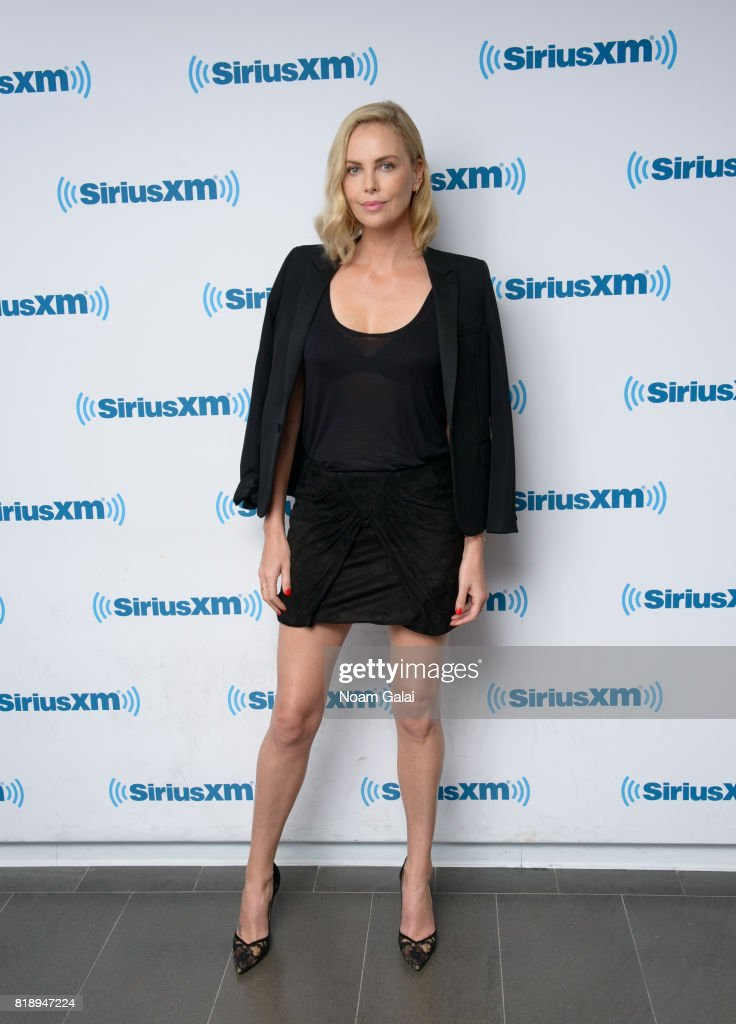 Actress Charlize Theron visits the SiriusXM Studios on July 19, 2017 in New York City.