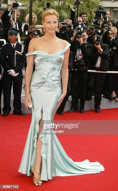 Actress Charlize Theron wearing Chopard arrives to the closing night ceremony and the screening of DeLovely during the 57th Cannes Film Festival on...