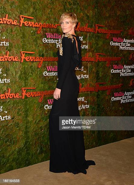 Actress Charlize Theron wearing Ferragamo arrives at the Wallis Annenberg Center for the Performing Arts Inaugural Gala presented by Salvatore...