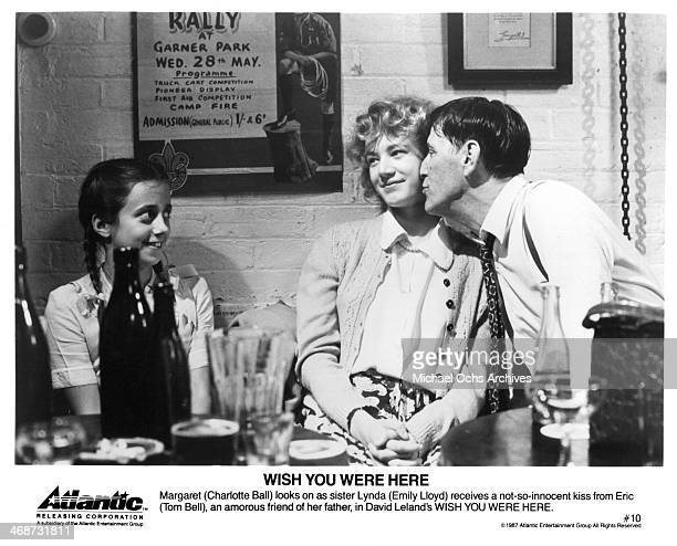 Actress Charlotte Ball Emily Lloyd and Tom Bell on set of the movie Wish You Were Here circa 1987
