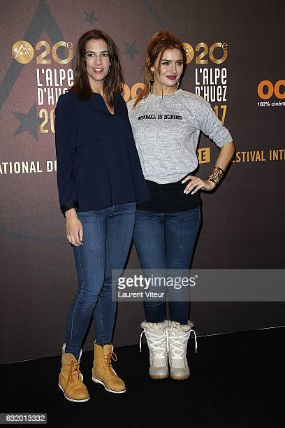 Actress Charlotte Gabris and Youtuber Andy Raconte attend 'L'Ascension' photocall during tne 20th L'Alpe D'Huez International Film Festival on...