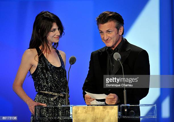 Actress Charlotte Gainsbourg and actor Sean Penn on stage during the show at the Cesar Film Awards held at the Chatelet Theater on February 27 2009...