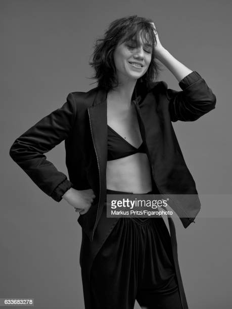 Actress Charlotte Gainsbourg is photographed for Madame Figaro on December 16 2016 in Paris France Jacket pants Bra personal PUBLISHED IMAGE CREDIT...
