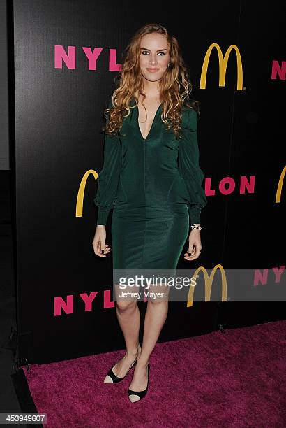 Actress Charlotte Kirk attends NYLON McDonald's Dec/Jan issue launch party hosted by cover star Demi Lovato at Quixote Studios on December 5 2013 in...