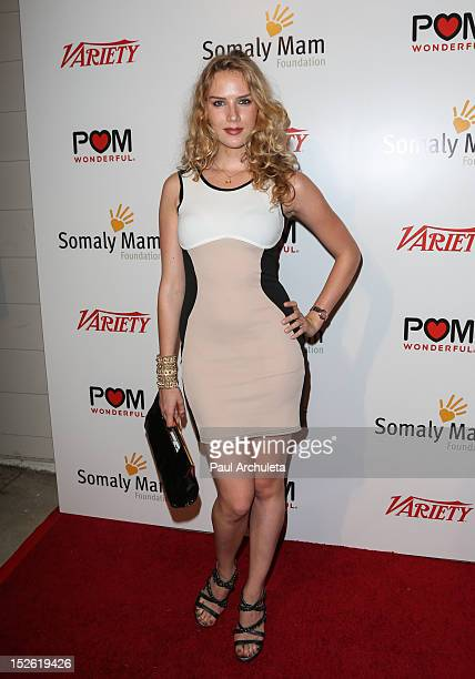 Actress Charlotte Kirk attends the Life Is Love a red carpet cocktail event benefiting the Somaly Mam Foundation on September 22 2012 in West...