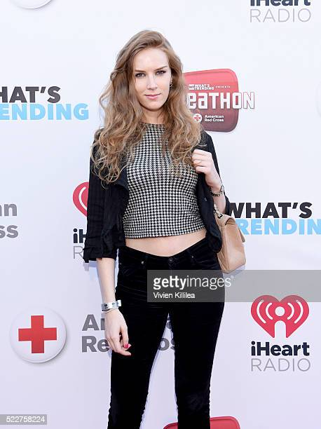 Actress Charlotte Kirk attends What's Trending's Fourth Annual Tubeathon Benefitting American Red Cross at iHeartRadio Theater on April 20 2016 in...