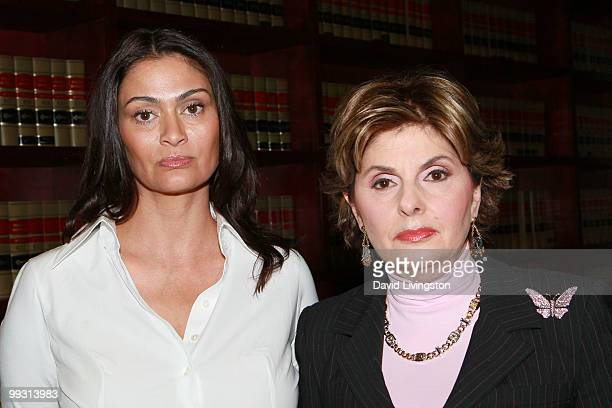 Actress Charlotte Lewis and lawyer Gloria Allred pose during a press conference on May 14, 2010 in Los Angeles, California. Charlotte Lewis alleges...