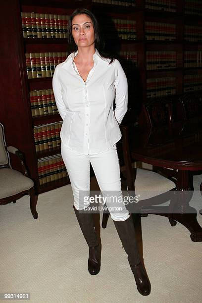 Actress Charlotte Lewis poses during a press conference on May 14 2010 in Los Angeles California Charlotte Lewis alleges that she was sexually abused...