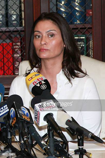 Actress Charlotte Lewis speaks during a press conference on May 14 2010 in Los Angeles California Charlotte Lewis alleges that she was sexually...