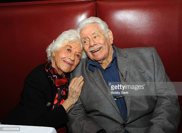 Actress Charlotte Rae and Jerry Stiller attend the Charlotte Rae book signing of The Facts of My Life at Sardi's on November 3 2015 in New York City