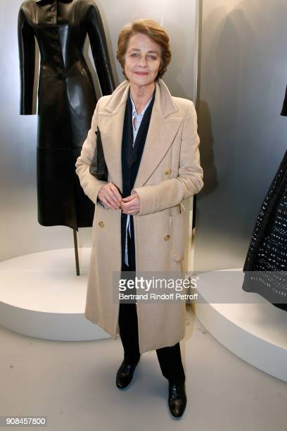 Actress Charlotte Rampling attends the 'Azzedine Alaia Je Suis Couturier' Exhibition as part of Paris Fashion Week Held at 'Azzedine Alaia Gallery'...