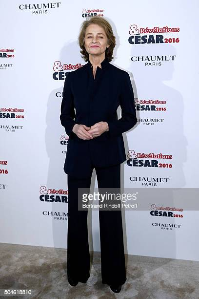 Actress Charlotte Rampling attends the 'Cesar Revelations 2016' Photocall at Chaumet followed by a dinner at Hotel Meurice on January 11 2016 in...