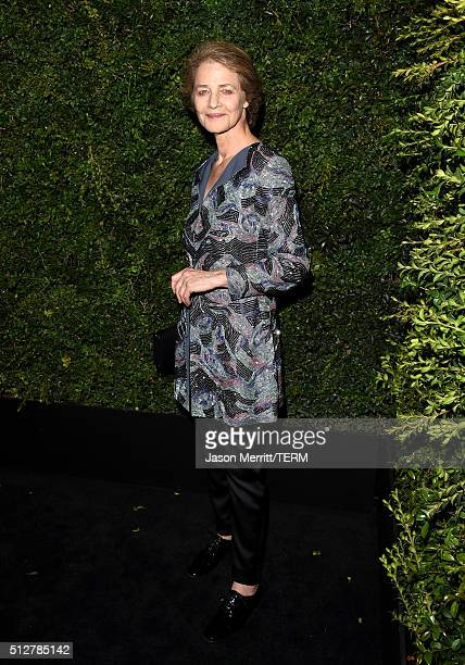 Actress Charlotte Rampling attends the Charles Finch and Chanel Pre-Oscar Awards Dinner at Madeo Restaurant on February 27, 2016 in Los Angeles,...