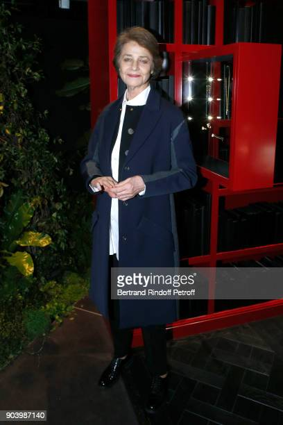 Actress Charlotte Rampling attends the Vendorama Exhibition as Boucheron Celebrates its 160th Anniversary at Monnaie de Paris on January 11 2018 in...