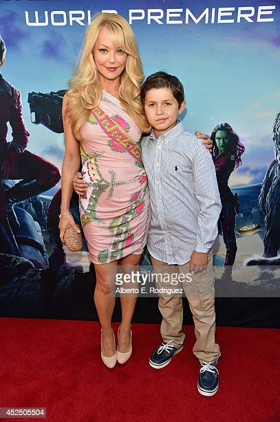 """Actress Charlotte Ross and Maxwell Ross Goldman attend The World Premiere of Marvel's epic space adventure """"Guardians of the Galaxy"""" directed by..."""