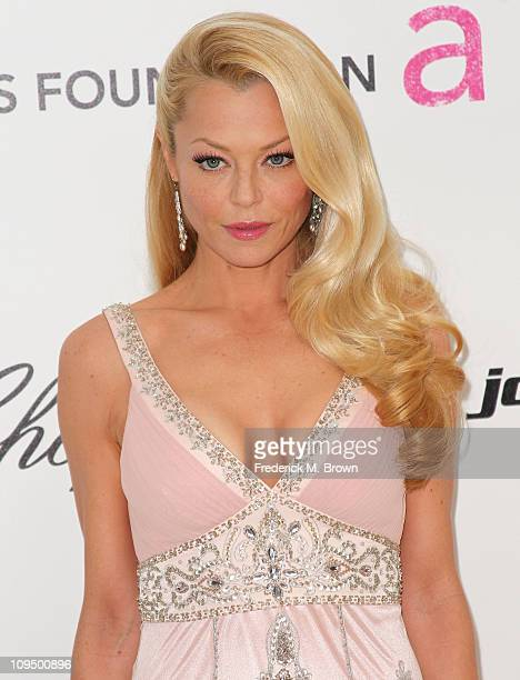 Actress Charlotte Ross arrives at the 19th Annual Elton John AIDS Foundation's Oscar viewing party held at the Pacific Design Center on February 27...