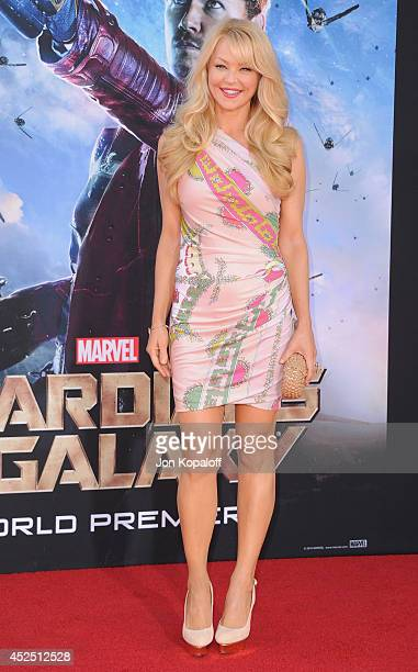 Actress Charlotte Ross arrives at the Los Angeles Premiere 'Guardians Of The Galaxy' at the El Capitan Theatre on July 21 2014 in Hollywood California