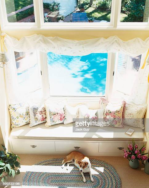 Actress Charlotte Ross's home is photographed for InStyle Magazine in 2002 in Los Angeles California Ross's bedroom window seat PUBLISHED IMAGE