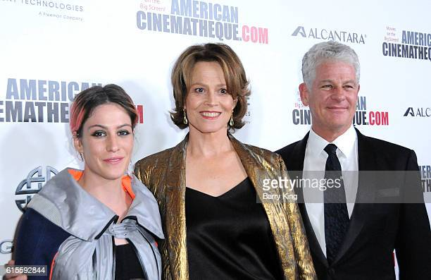 Actress Charlotte Simpson actress Sigourney Weaver and Jim Simpson attend the 30th Annual American Cinematheque Awards Gala at The Beverly Hilton...