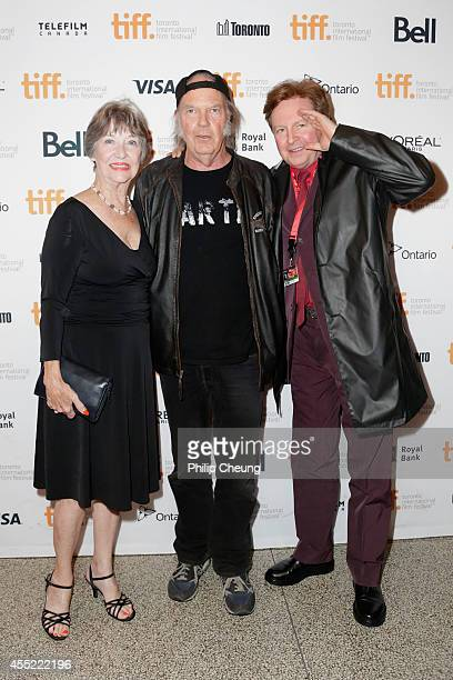Actress Charlotte Stewart Director/musician Neil Young and composer Gerald Casale attend the 'Human Highway' premiere during the 2014 Toronto...