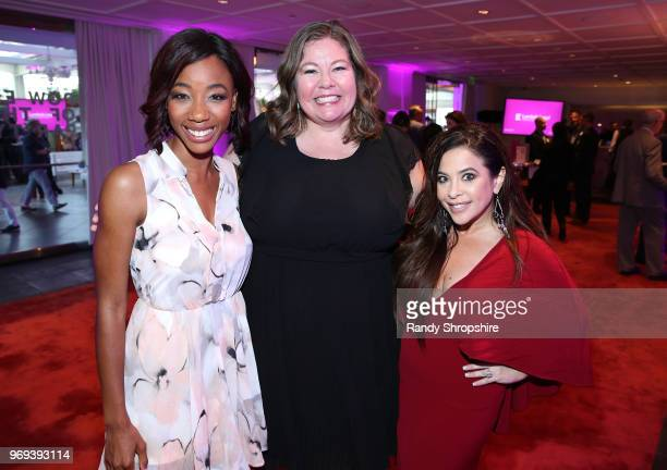 Actress Charmaine Bingwa actress Lisa Linke and television host Brooke Lewis attend the Lambda Legal 2018 West Coast Liberty Awards at the SLS Hotel...