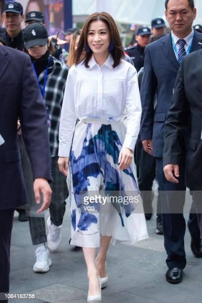 Actress Charmaine Sheh Szeman attends a Head Shoulders activity on November 5 2018 in Nanjing Jiangsu Province of China
