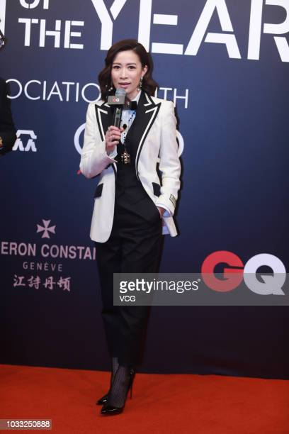Actress Charmaine Sheh Szeman poses on the red carpet of 2018 GQ Men of the Year awards ceremony on September 8 2018 in Shanghai China