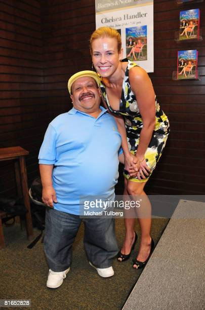 "Actress Chelsea Handler and actor Chuy Bravo pose for a book signing of Handler's new book ""Are You There, Vodka? It's Me, Chelsea"", at the Barnes &..."