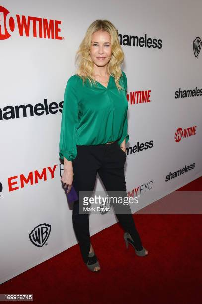 Actress Chelsea Handler arrives at a screening and panel discussion of Showtime's Shameless held at the Leonard H Goldenson Theatre on June 4 2013 in...