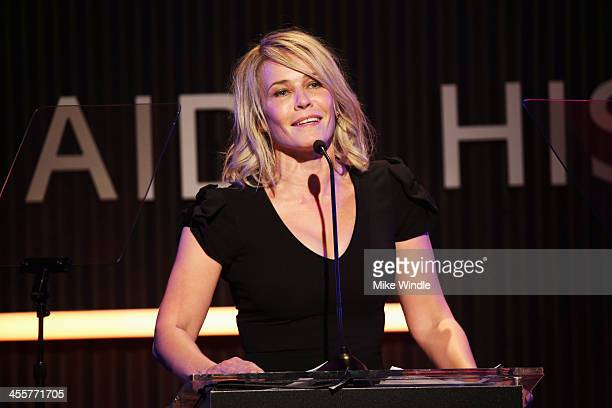 Actress Chelsea Handler speaks at the 2013 amfAR Inspiration Gala Los Angeles presented by MAC Viva Glam at Milk Studios on December 12 2013 in Los...