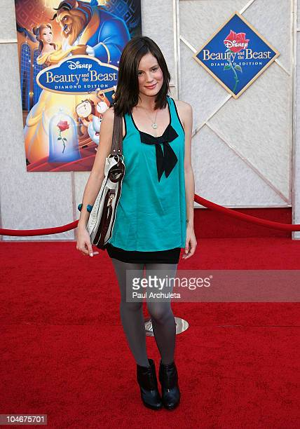 Actress Chelsea Hobbs arrives at the Beauty And The Beast singalong premiere and DVD release party at the El Capitan Theatre on October 2 2010 in...