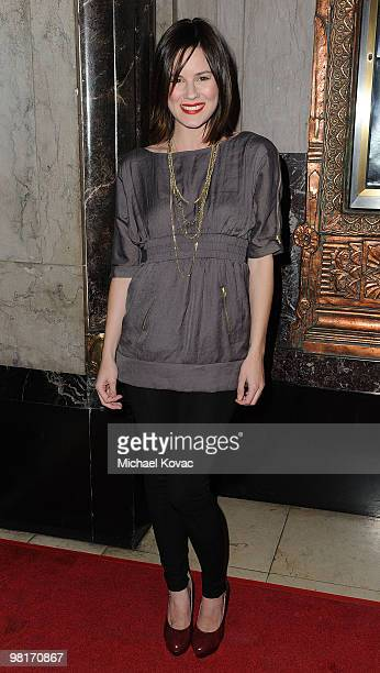 """Actress Chelsea Hobbs arrives at the opening night of """"CATS"""" at the Pantages Theatre on March 9, 2010 in Hollywood, California."""