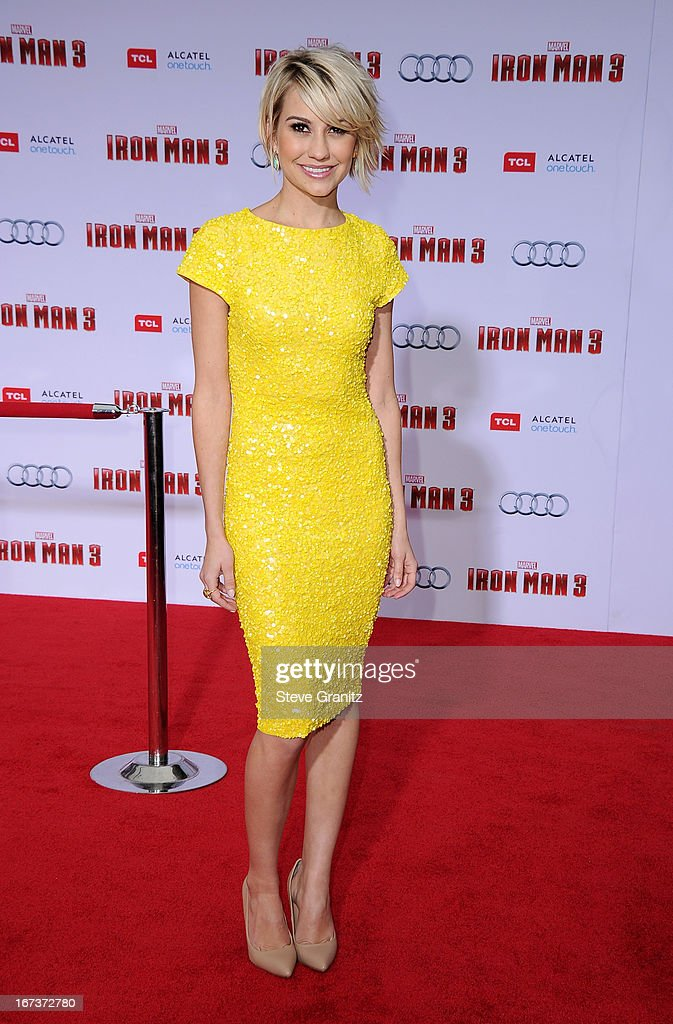 Actress Chelsea Kane arrives at the 'Iron Man 3' Los Angeles premiere at the El Capitan Theatre on April 24, 2013 in Hollywood, California.