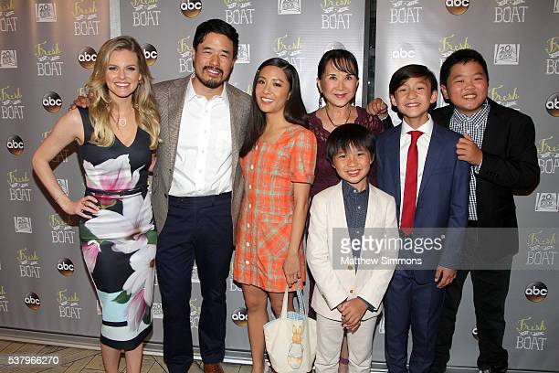 Actress Chelsey Crisp Randall Park Constance Wu Lucille Soong Ian Chen Forrest Wheeler and Hudson Yang attend the Emmy FYC event for ABC's 'Fresh Off...
