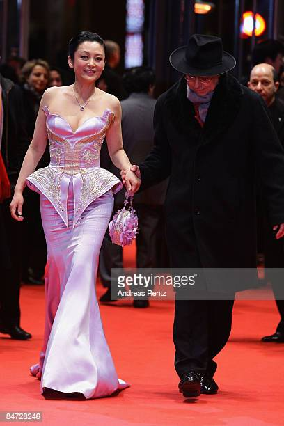 Actress Chen Hong and Berlinale Director Dieter Kosslick attend the premiere for 'Forever Enthralled' as part of the 59th Berlin Film Festival at the...