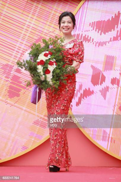 Actress Cherie Chung Chorhung attends a Spring Festival activity at a shopping mall on January 31 2017 in Hong Kong China