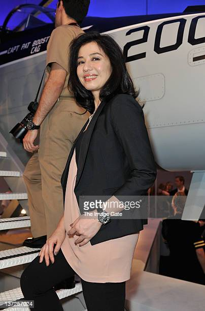 Actress Cherie Chung visits the IWC Schaffhausen booth during the 22nd SIHH High Jewellery Fair at the Palexpo Exhibition Hall on January 17 2012 in...