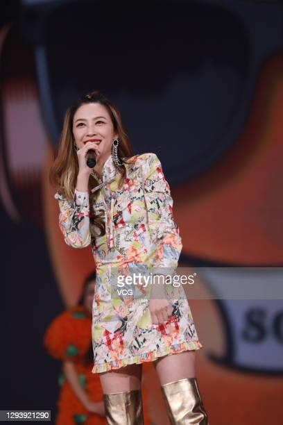 Actress Cherrie Ying performs on the stage during Dragon Television new year gala on December 31, 2020 in Shanghai, China.