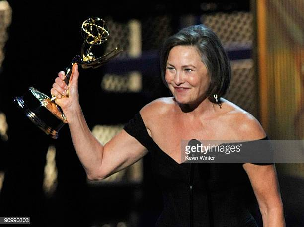 Actress Cherry Jones accepts the Outstanding Supporting Actress In A Drama Series award for '24' onstage during the 61st Primetime Emmy Awards held...