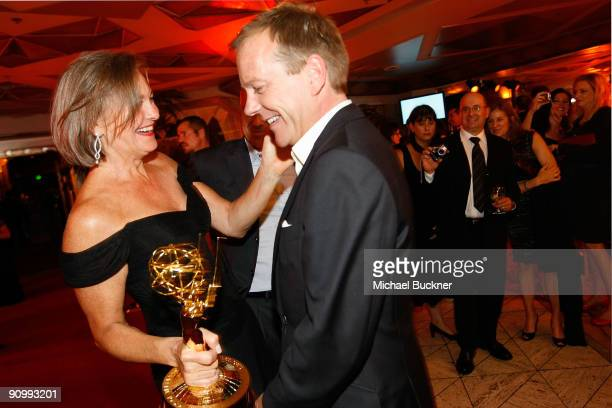 Actress Cherry Jones with her Emmy for Outstanding Supporting Actress in a Drama Series for FOX's '24' and actor Kiefer Sutherland from FOX's '24'...