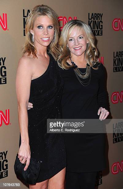 """Actress Cheryl Hines and actress Rachel Harris arrive at CNN's """"Larry King Live"""" final broadcast party at Spago restaurant on December 16, 2010 in..."""