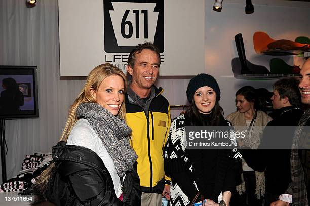 Actress Cheryl Hines Robert F Kennedy Jr and Kick Kennedy attend attends Day 2 of Miami Oasis at the TMobile Google Music Village at The Lift on...